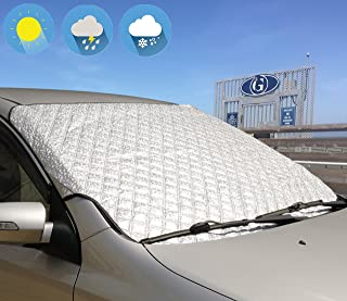 Jackey Awesome Windshield Snow Cover Car Windshield Snow & Sun Shade Protector Exterior Shield Guard Fits All Weather Winter Summer Auto Sunshade Cover (Silver)
