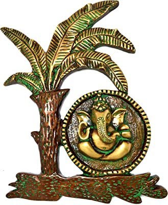 Two Moustaches Brass Ganesha Under Banana Tree Wall Hanging Showpiece | Home Decor |