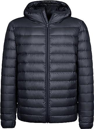Wantdo Men's Windproof Down Jacket Outdoor Warm Coat Lightweight Packable Jacket Hooded Winter Jacket