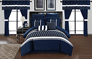 Chic Home Dinah 24 Piece Bed in a Bag Comforter Set, King, Blue,