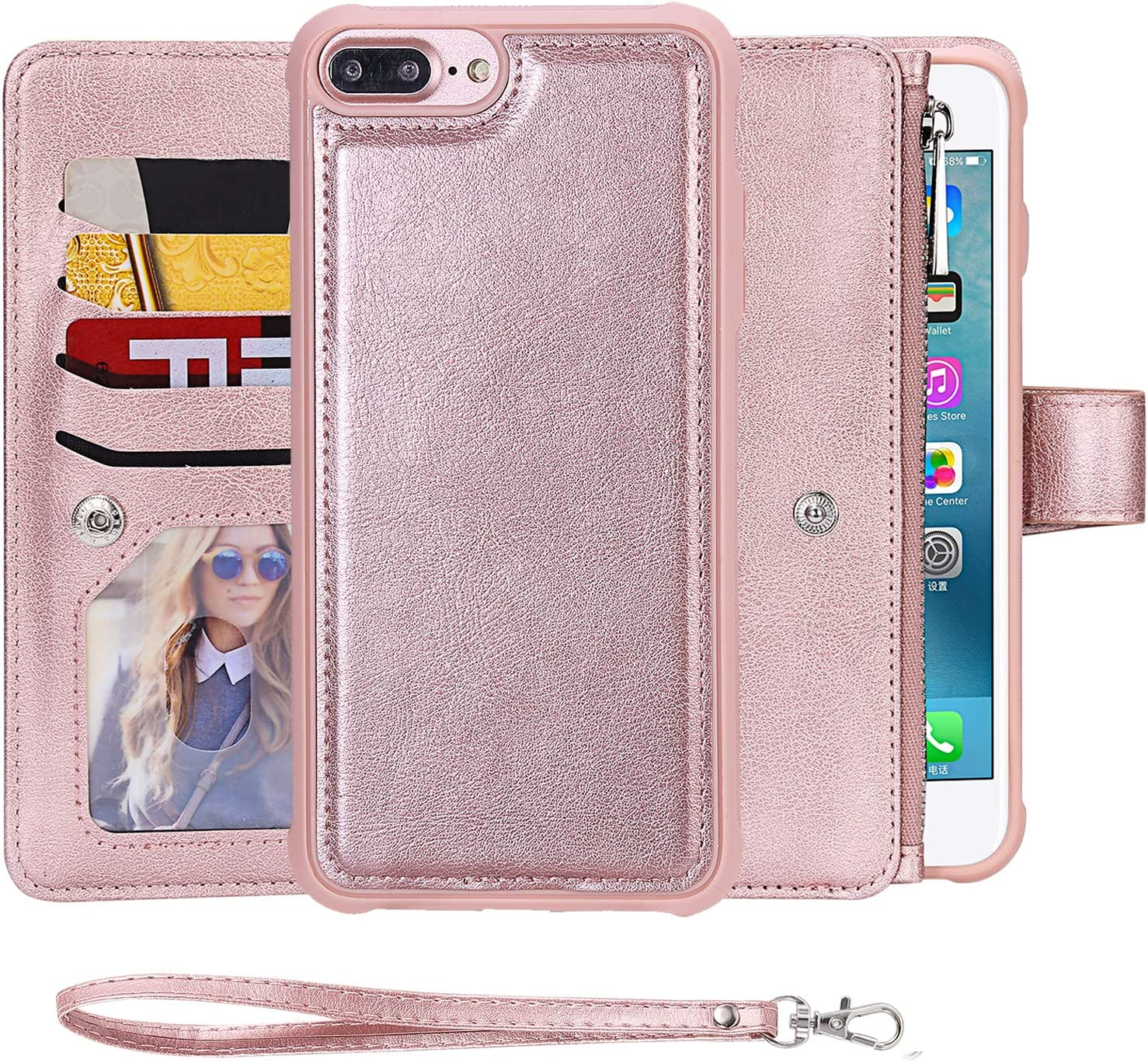 iPhone 8 Plus Case,SAVYOU iPhone 7 Plus Flip Wallet Case with Magnetic Detachable Leather Cover fit Car Mount [8 Card Slots][Wrist Strap] 2 in 1 Folio Zipper Leather Wallet Kickstand Case 5.5 inch