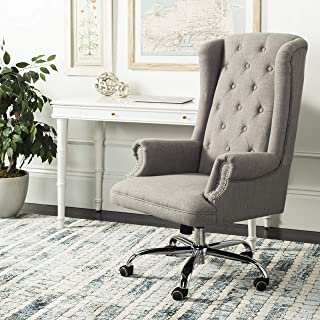 Safavieh Home Collection Ian Swivel Office Desk Chair, Grey and Chrome