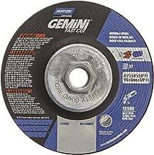 Norton Abrasives - St. Gobain 43585 Gemini Fast Cut Aluminium Oxide Abrasive Type 27 Grinding Wheel, Depressed Center Wheel, Max 13,580 RPM, 5/8