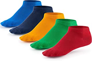 Mens Liner Ankle Socks (5 Pair Pack) by Mat & Vic's Cotton Classic Comfortable Breathable (UK '4-6 / EU 35-38, Fun Colours)