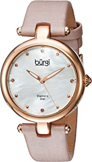 Burgi Designer BUR169 Women's Watch with Diamond Accented Markers on Mother of Pearl Dial – Skinny Genuine Leather Bracelet Strap -
