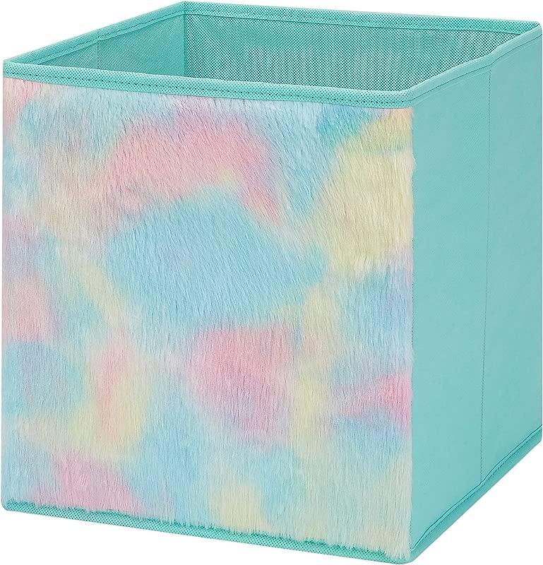 Kids Collapsible Storage Fabric Bin Rainbow Fur 10 5 X 10 5 X 11