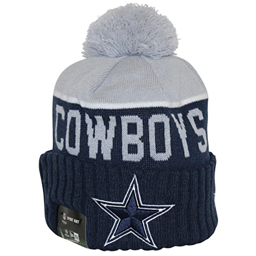 b976948b35fba New Era NFL15 On-Field Sport Knit Dallas Cowboys Navy Gray Pom Beanie