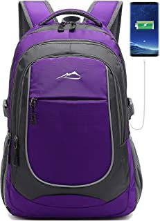 School Backpack with USB Charging Port Travel College Student Business Casual Large Durable Daypack Bookbag for Women Men fits 15.6 inch Laptop Purple Purple 15.6 inches