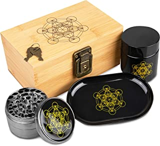 Stash Box Combo - Accessories Kit, Locking Wooden Box with Grinder, Rolling Tray, Smell Proof Glass Jar, Bamboo Box with Lock (Metatron's Cube)