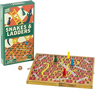 Professor Puzzle WOODEN SNAKES AND LADDERS - Traditional / Classic Wooden Family Board Game, Folding Design, Fun Family ga...