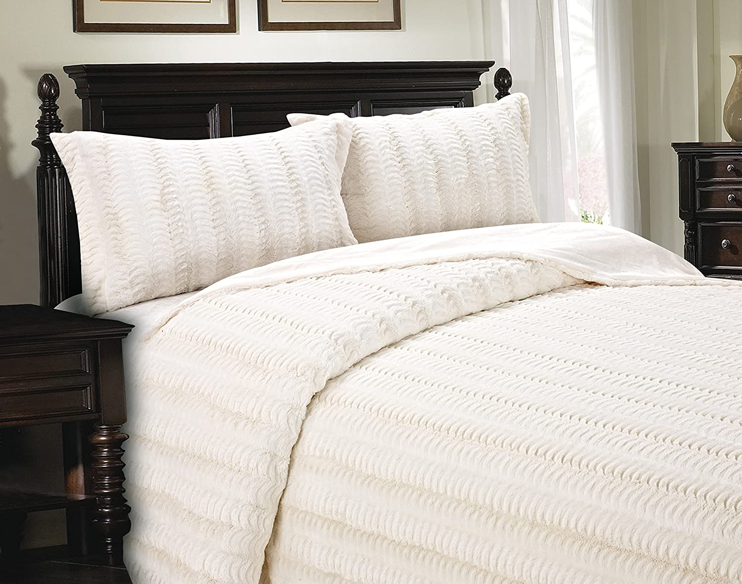 Cathay Home Lofty Luxe Faux Fur Blanket, Full Queen, Cream
