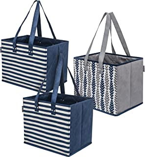 Planet E Reusable Grocery Shopping Bags - Large Collapsible Boxes With Reinforced Bottoms Made of Recycled Plastic (Pack of 3)