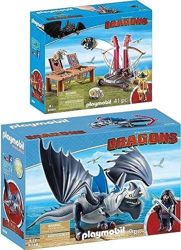 PLAYMOBIL Dragons 2er Set 9248 9461 Drago mit Donnerklaue + Grobian mit Schafschleuder