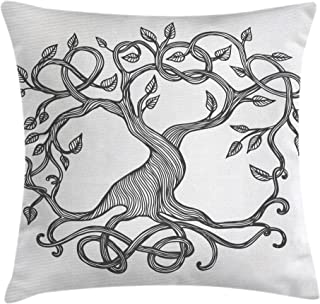 Ambesonne Celtic Throw Pillow Cushion Cover, Figure of A Single Celtic Tree of Life with Swirly Long Branches and Roots, Decorative Square Accent Pillow Case, 18 X 18 Inches, Charcoal Grey White