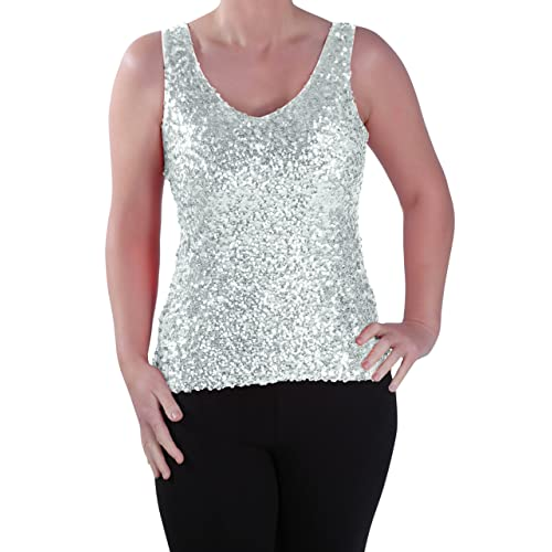 1fe6c065 Eyecatch - Womens Sequin Sleeveless Glitzy Glamorous Party Ladies Vest Top