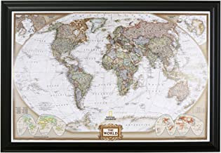 Push Pin Travel Maps Executive World with Black Frame and Pins - 27.5 inches x 39.5 inches