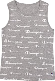 Champion Heritage Girls Kids Clothes Original Script Tank Top Shirt (Youth Small, Oxford Grey All Over Script)