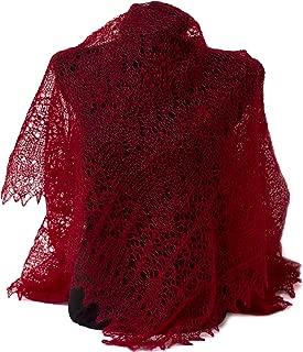 Fedelkea Red Orenburg Shawl Wrap Lace Knitted Wool Goat Down Russian Handmade