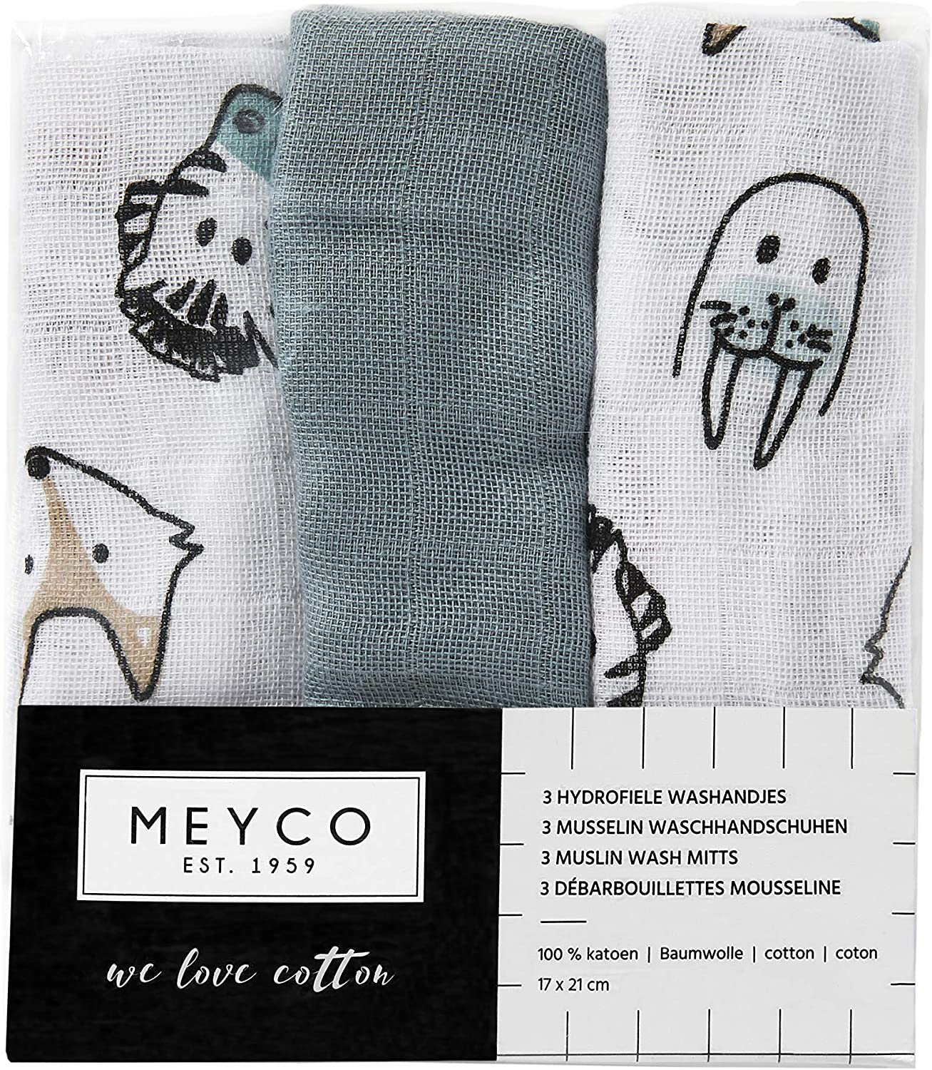Meyco 458017 Muslin Wash Cloths Set of 3 21 x 17 cm