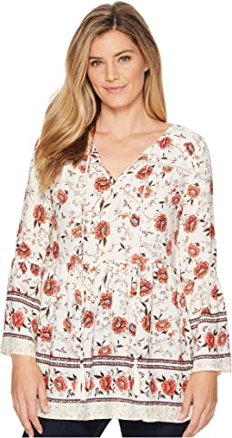 Floral V-Neck Bell Sleeve Tunic