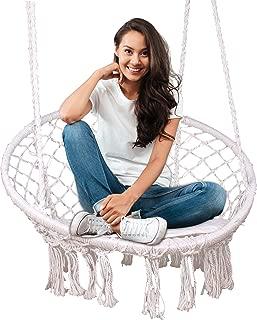 Fieren Hammock Chair Indoor Outdoor Livingroom Hanging Macrame Chairs Swing Hammock Rattan Chair Swing Chair, Kid Swing, Swinging Chair for Bedroom,Hanging Chairs