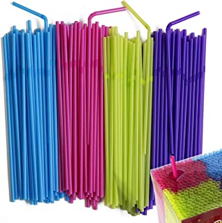 Disposable Drinking Straws - Flexible Neon Colored Bendy Plastic Straw - Colorful Party Fun Straws - Bulk Pack - Kid Friendly - BPA Free - 450 Count By MontoPack.