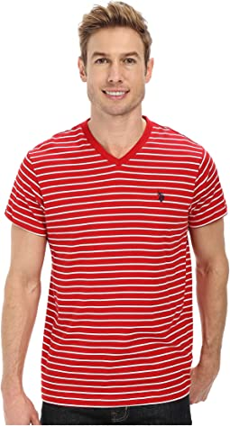 Thin Stripe V-Neck T-Shirt
