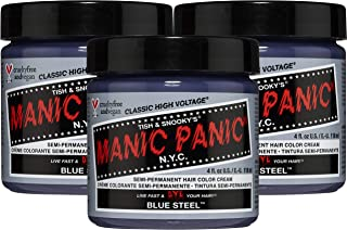 Manic Panic Blue Steel Hair Dye – Classic High Voltage - (3PK) Semi-Permanent Hair Color - Cool, Silver Hair Dye With Blue Undertones - Vegan, PPD & Ammonia-Free - For Coloring Hair on Women & Men