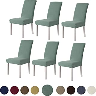 sancua Stretch Jacquard Dining Chair Cover - Set of 6 Removable Washable Chair Protector for Dining Room, Hotel, Ceremony, Banquet, Wedding and Party, Cyan
