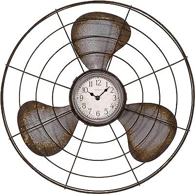 "LaCrosse 404-3942 16.5"" Metal Fan Quartz Analog Clock, Gray"