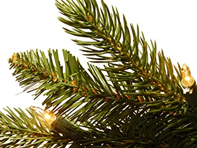 """National Tree 7-1/2 Foot """"Feel-Real"""" Grande Fir Hinged Tree with 750 Clear Lights (PEGF4-307-75)"""