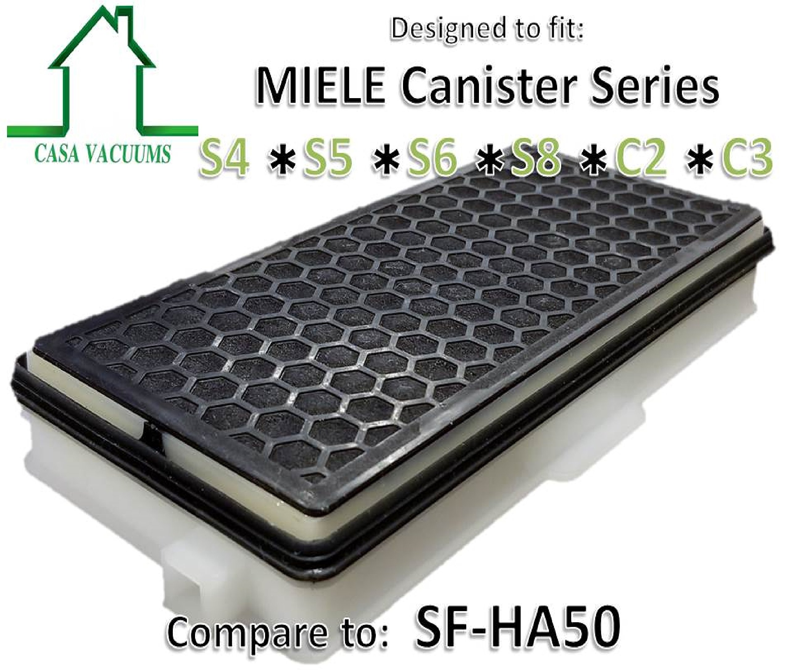 Casa Vacuums 2 PK Miele SF-HA50 Replacement Hepa Filters with Activated Carbon C2 and C3 Series Miele Canister vacuums. S5000 S6000 Fits S4000 S8000