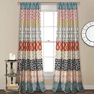 Lush Decor 16T003316, Turquoise and Orange Lush Decor Bohemian Stripe Window Curtain..