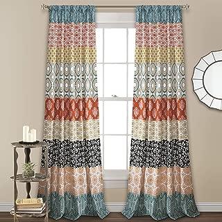 Lush Decor Bohemian Stripe Window Curtain Colorful Bold Design Panel Pair, 84