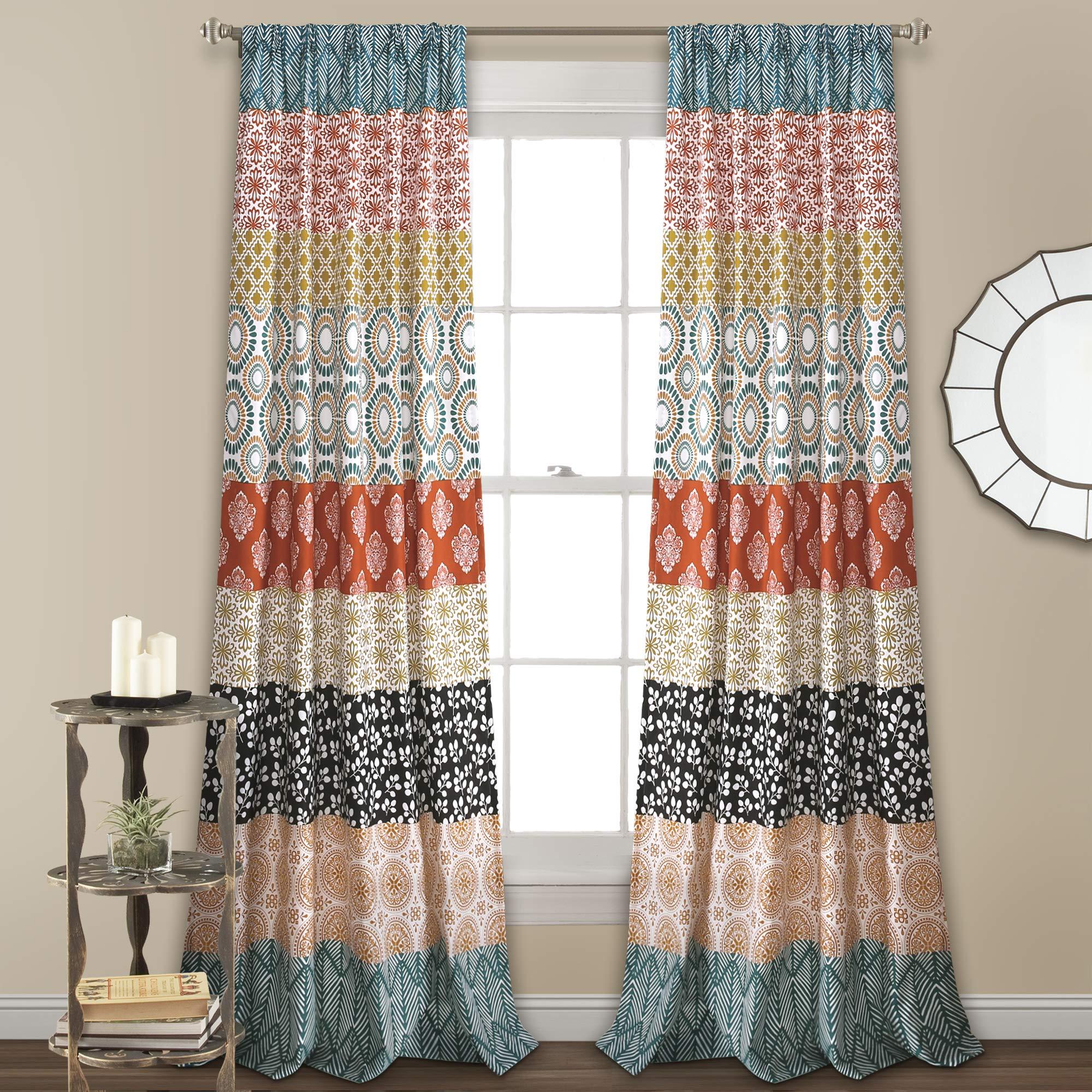 Lush Decor Bohemian Curtain Turquoise