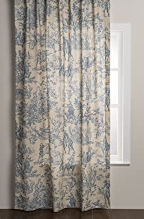 French Toile Curtains Blue
