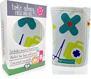 PreparaKit Travel Kit و کیت کمک های اولیه نوزاد - مامان کیت کمک های اولیه! کیت مینی جمع و جور با 50 ملزوم برای کیسه پوشک یا کیف پول - کیت کمک های اولیه برای اورژانس، کمپینگ، پیاده روی، اتومبیل یا خانه [Kid Joy]