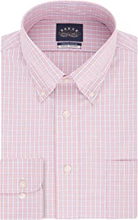 Men's Dress Shirt Slim Fit Non Iron Stretch Collar Check