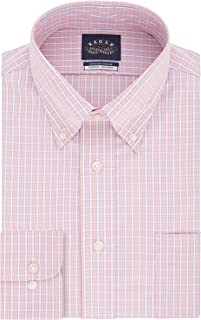 Men's Dress Shirt Slim Fit Non Iron Stretch Collar Check