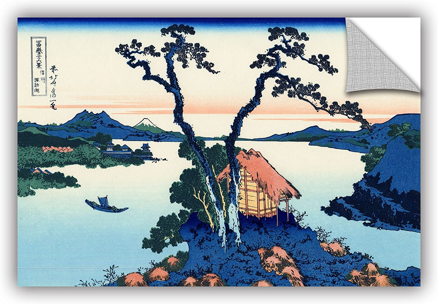 ArtWall Katsushika Hokusai's Lake Suwa in The Shinano Province  Removable Wall Art, 12-Inchx18-Inch
