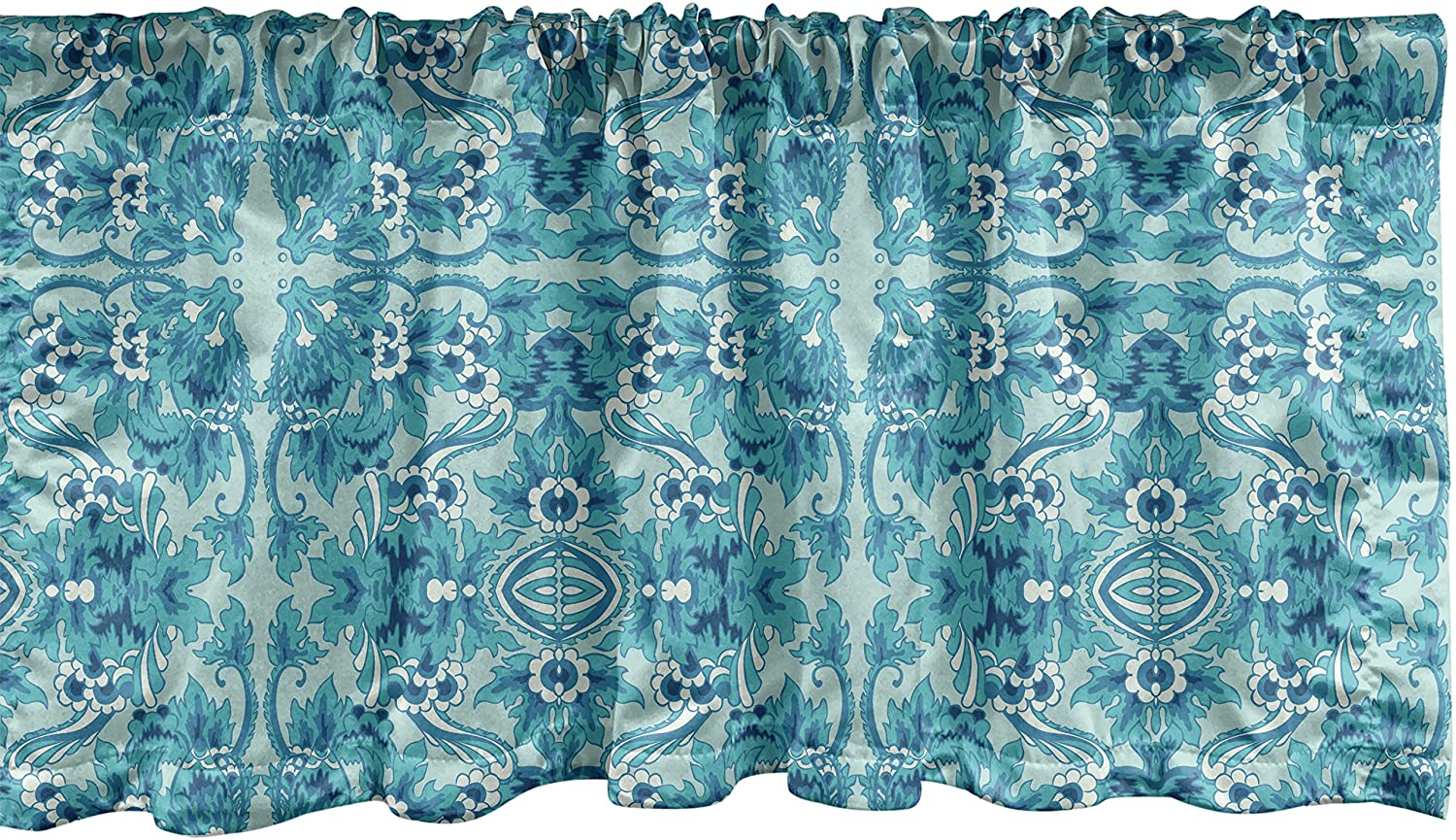 Lunarable Turquoise Window Max 74% OFF Valance Symmetric Ant Flower Free shipping on posting reviews Pattern