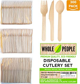 Disposable Wooden Cutlery Set by Whole People | 3 Piece | 300 pcs total, 100 Forks, 100 Spoons & 100 Knives | Alternative to Plastic, Stainless Steel & Bamboo Wood | For Camping, Travel, Party