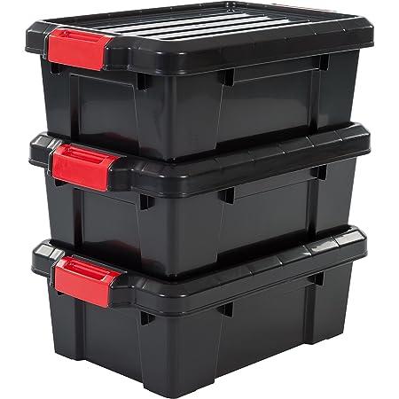 Iris Ohyama 135733 Set de 3 boîtes de Rangement Power Box, Plastique, Noir, 12,5 Litres