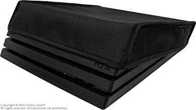Playstation 4 Pro Dust Cover (PRO Model) by Foamy Lizard – THE ORIGINAL MADE IN U.S.A. TexoShield (TM) premium ultra fine soft velvet lining nylon dust guard with back cable port (Horizontal)