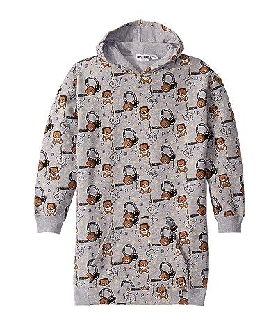 Moschino Kids Hooded Dress w/ Music Toy Bear Print (Big Kids) (Grey) Girl