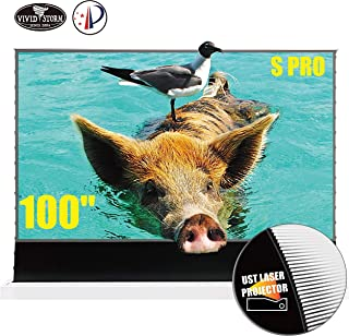 VIVIDSTORM 100inch UHD Laser TV Home Theater Projector Ultra Short Throw Gaming and Movie Projector Floor Rising Screen Sm...