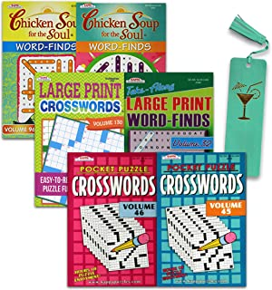 Puzzle Books for Adults, Kids 6 Pack ~ Crossword Books for Adults and Word Find Books Including Chicken Soup for The Soul ...