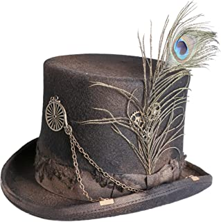 Arsimus 100% Wool Steampunk Top Hat with Grosgrain Band and Peacock Feather