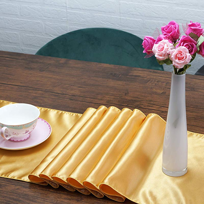 Moments Creation Premium Satin Table Runners Pack Of 10 Thick Quality Table Runner 12 X 108 Inches Elegant Perfect For Wedding Banquet Or Party Table Decorations Gold 10