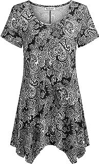 Women Short Sleeves Tunic Shirts Casual Scoop Neck Floral Irregular Hem Blouses Tops